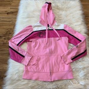 Harley Davidson Pink Spell Out Zip Up Hoodie sz XS